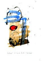 """""""Die Taufe"""" - Die Bibel - / WVZ 3.154 / datiert 07.09.00 / Tusche und Aquarell auf Papier / Maße b 21,0 cm * h 29,7 cm"""