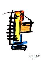 """""""o. T."""" 1 / Werkverzeichnis 1.697 / datiert 20.08.98 / Aquarell und Tusche auf Papier / Maße b 30,0 cm * h 42,0 cm"""