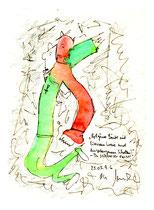 """""""Rotgrüner Läufer mit Eisernem Kreuz und eingefangenem Schatten"""" - In schwarzer Nacht - WVZ 991 / datiert 25.05.96 / Aquarell, Filzstift auf Papier / b 18,0 cm * h 24,0 cm"""