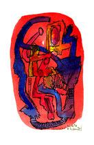 """""""Einheit 3"""", WVZ 1.027, / datiert 03.10.1996 / Filzstift und farbige Tinten auf Bütten / Größe b 10,0 cm * 16,0 cm"""