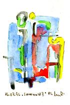 """""""Spreewald II"""", WVZ 1.017 / datiert 16.07.1996 / Tusche und Aquarell auf Papier / Größe b 12,0 cm * 16,0 cm"""