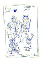 """Zeichnung im Restaurant """"Cortijo"""" in Stuttgart / """"Rioja Stuttgart"""" / WVZ 1.739 Kugelschreiber a. Rücks. Speisekarte rechts, b 21,0 cm * 29,7 cm"""