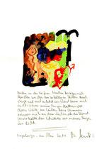 """""""Unten"""" / Sayalonga, im Mai 2014 """"Sprechbild"""" mit vorstehendem Text. Original Grafik mit Tusche, Aquarell, Bleistift und Text auf Papier. B 21,0 cm * H 29,7 cm Werkverzeichnis 4167"""