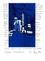 """""""Zu früh - zu spät"""" / Sayalonga, den 19.12.2006 / Neudruck verkleinert 1/1 / """"Wege zum Licht"""" und Text auf Papier / Originaldruck 1/1 / B 21,0 cm * H 29,7 cm / Werkverzeichnis 3771"""