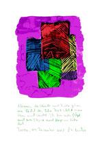 """""""Ich warte"""" / Torrox, 04.12.2008 / """"Sprechbild"""" mit Text als Original Grafik mit Aquarellfarben, Ölkreide, Bleistift und Text auf Papier / B 21,0 cm * H 29,7 cm / Werkverzeichnis 3.824"""