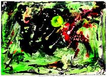 """""""Vollmond"""" Isny, 12/91, Werkverzeichnis 254, Tusche, Tinte, Ölkreide, Lacke auf Papier, b 40,0 cm * h 30,0 cm"""