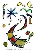 """""""Herbstsommer"""" II. Werkverzeichnis 554, Tusche, Filzstift und Aquarell auf Papier, Größe b 30,0 cm * h 40,0 cm."""