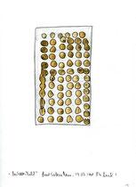 """14. """"Bestelltes Feld"""" / datiert 09.07.01 / Bleistift, Asche und Zigarre auf Papier / Maße b 21,0 cm * h 29,7 cm / WVZ 3.363"""