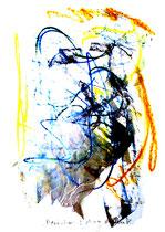 Besäufnis I Isny, den 19.11.91 Farben, Kohlen, Bleistift auf Papier, b 24 cm * h 34 cm. Werkverzeichnis 215