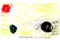 """""""Laßt Luftballons fliegen"""" Isny, den 20.11.1991, Werkverzeichnis 234, Tusche, Ölkreide und Tinte auf Papier, b 40,0 cm * h 30,0 cm"""