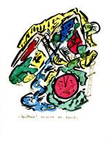 """""""Gesichtszeit"""" Werkverzeichnis 1.243 / datiert 03.01.97 / Filzstift und Aquarell auf Papier / Maße b 18,0 cm * h 24,0 cm"""