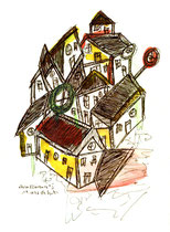 """Vision Ellerburg"" I / WVZ 1.060 / datiert 19.10.96 / Aquarell und Filzstift auf Aquarellpapier / b 24,0 cm * 32,0 cm"