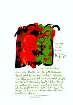 """Umarmung"" / Sayalonga, im Mai 2014 ""Sprechbild"" mit vorstehendem Text. Original Grafik mit Tusche, Aquarell, Ölkreide, Bleistift, Text auf Papier. B 21,0 cm * H 29,7 cm Werkverzeichnis 4168"