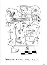 """24. """"Drama mit Karre"""" / datiert 15.07.01 / Bleistift und Filzstift auf Papier / Maße b 21,0 cm * h 29,7 cm / WVZ 3.373"""