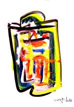 """""""o. T."""" 3 / Werkverzeichnis 1.683 / datiert 20.08.98 / Tusche und Aquarell auf Papier / Maße b 30,0 cm * h 42,0 cm"""