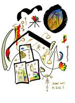 """""""Aufbau II"""" WVZ 809, vom 11/1995. Filzstift, Tusche und Aquarell auf Papier. Größe 30,0 cm * h 40,0 cm"""