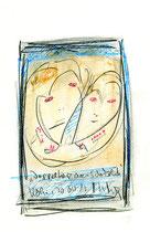 Doppelherz aus Schokolade Originalgrafik. Köln, 20.04.2013. Größe b 21,0 cm * h 29,7 cm. Schokolade, Bleistift und Filzstift auf Papier. Werkverzeichnis 4090.