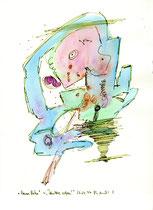 """""""Barre Bräu"""" ~ """"Dein Herz erfreu!"""" 2 / Werkverzeichnis 1.297 / datiert 23.02.1997 / Filzstift und Aquarell auf Papier bzw. Pappe / Maße b 24,0 cm * 32,0 cm"""