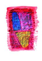 """""""Durchs Blut gekratzt"""" / WVZ 3.765 / datiert 04.10.2005 / Ölkreide und Aquarell auf Papier / Maße b 42,0 cm * h 59,4 cm"""