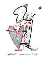 """""""Grüne Tränen II"""" Originalgrafik. Sayalonga, 23.06.2013. Größe b 21,0 cm * h 29,7 cm. Farbzeichnung mit Blei- und Filzstift auf Papier. Werkverzeichnis 4147."""