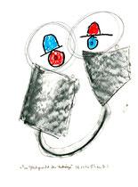 """""""Im Gleichgewicht der Hutträger"""", WVZ 1.094 / 08.11.96 / Kohle und Filzstift auf Papier / Größe b 24,0 cm * 32,0 cm"""