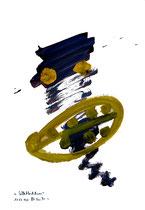"""""""Selbstbildnis"""" 14 / WVZ 3.258 / datiert Wiesmoor, 11.12.00 / diverse Farben auf Papier / Maße b 30,0 cm * h 42,0 cm"""
