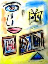 """""""Emanzipationsversuch"""" Gestringen, 08/92, Werkverzeichnis 308, Aquarell auf Papier, b 30,0 cm * h 40,0 cm"""