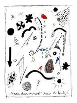 """""""Verpacktes, schwarz-rotes Kraftei"""", Werkverzeichnis 516, datiert 10.03.1995, Tusche und Filzstift auf Papier, Größe b 21,0 cm * h 29,7 cm"""