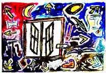 """""""Drinnen und Draußen"""" Gestringen, den 25.12.1991, Werkverzeichnis 264, diverse Farben und Kreiden auf Papier, b 40,0 cm x h 30,0 cm"""