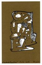 """""""Wandernde Menschheit"""" 1/2 B / Werkverzeichnis 2.388 / datiert 12.99 / PC-Zeichnung als Tintenstrahldruck auf Papier / Maße b 21,0 cm *h 29,7 cm"""