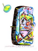 """""""Landschaft Schlangenbad"""" / WVZ 1.573 / datiert 06.04.98, Kohle, Ölkreide, Aquarell, Filz- und Bleistift auf Papier, Maße b 29,4 cm * h 42,0 cm"""