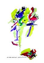 """""""Whe shall overcome"""" / WVZ 980 / datiert 08.05.96 / Filzstift, Kohle, Aquarellfarben auf Papier / b 36,0 cm * h 48,0 cm"""