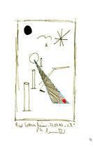 """""""o. T."""" 4 / Werkverzeichnis 1.346 / datiert 23.07.97 Filzstift schwarz und rot sowie Bleistift auf Papier / Maße b 12,0 cm * h 18,0 cm"""