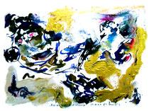 """""""Rotwein und Framboise"""" Isny, den 29.11.1991, Werkverzeichnis 251, Mischtechnik diverser Farben mit Rotwein und Framboise auf Papier, b 40,0 cm * h 30,0 cm"""
