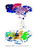 """""""Taufrischer Abend"""" Werkverzeichnis 1.299 / datiert 24.02.1997 Filzstift und Aquarell auf Papier Maße b 30,0 cm * h 40,0 cm"""
