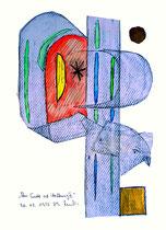 """""""Am Ende ist Hoffnung II"""" WVZ 471, vom 20.02.1995. Grafit, Aquarell, Goldlack, Filzstift auf Papier. Größe 30,0 cm * h 40,0 cm"""