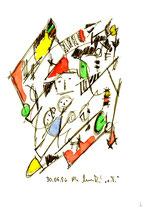 """""""o. T. 2"""" , WVZ 999 / datiert 30.06.96 / Filzstift und Aquarellfarben auf Papier / Maße b 12,0 cm * h 16,0 cm"""