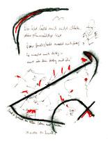 """""""Und es brennt an allen Ecken und Enden"""", Werkverzeichnis 1.090 Datiert 08.11.1996 Kohle, Filzstift, Text auf Papier Maße b 24,0 cm * 32,0 cm"""