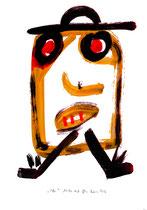 """""""Selbstbildnis"""" 11 / WVZ 3.255 / datiert Wiesmoor, 11.12.00 / diverse Farben auf Papier / Maße b 30,0 cm * h 42,0 cm"""