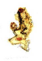"""""""Hey Joe"""" / WVZ 3.223 / datiert 06.11.00 / Filzstift, Bleistift, Asche und Aquarell auf Papier / Maße b 21,0 cm * h 29,7 cm"""