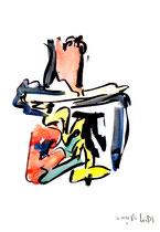 """""""o. T."""" 2 / Werkverzeichnis 1.682 / datiert 20.08.98 / Tusche und Aquarell auf Papier / Maße b 30,0 cm * h 42,0 cm"""