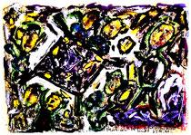 """""""Am Kneipentisch"""" Isny, den 23.11.1991, Werkverzeichnis 246, Tusche, Tinten und Ölkreide auf Papier, b 40,0 cm x h 30,0 cm"""