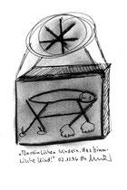 """""""In reinlichen Windeln das himmlische Kind"""" WVZ 1.168 / datiert 02.12.96 / Kohle und Filzstift auf Bütten / Maße b 10,0 cm * h 16,0 cm"""