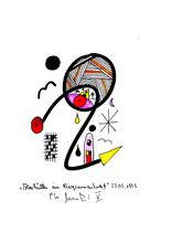"""""""Almhütten im Bergsonnenherbst V"""", 23.03.1995, Werkverzeichnis 504, Textilfarbe auf Papier, Größe b 11,0 cm * h 15,0 cm."""