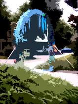 """""""Espelkamp geht durch die Mitte"""" C / Fotoveränderungen der verschiedenen Tore in Espelkamp als Tintenstrahldruck auf Fotopapier / Werkverzeichnis Nachträge / datiert 08.2002 / Maße b 21,0 cm * 29,7 cm"""
