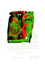 """""""Tiefer"""" / Sayalonga, 11. Mai 2014 """"Sprechbild"""" mit vorstehendem Text. Original Grafik mit Tusche, Aquarell, Bleistift und Text auf Papier. B 21,0 cm * H 29,7 cm Werkverzeichnis 4186"""