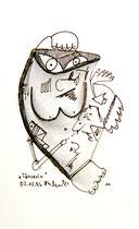 """10 """"Tänzerin"""", WVZ 1.181, - verkauft an Waltraud Black, Competa - datiert 12.02.1996, Kohle und Filzstift auf Bütten, Maße b 10,0 cm * h 16,0 cm."""