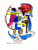 """""""Unzeit"""" Werkverzeichnis 1.244 / datiert 03.01.97 / Filzstift und Aquarell auf Pappe / Maße b 18,0 cm * h 24,0 cm"""