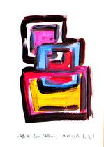"""""""Glaube, Liebe, Hoffnung"""" / - Seelenbild 1 - / WVZ 3.267 / datiert Wiesmoor, 11.12.00 / diverse Farben auf Papier / Maße b 30,0 cm * h 42,0 cm"""