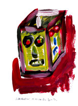 """""""Selbstbildnis"""" 9 / WVZ 3.253 / datiert Wiesmoor, 11.12.00 / diverse Farben auf Papier / Maße b 30,0 cm * h 42,0 cm"""